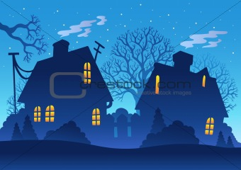 Village night silhouette