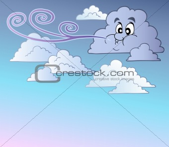 Windy sky with cartoon clouds