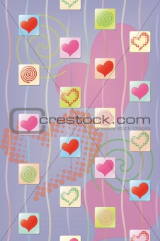 Abstract background with hearts and spiral