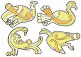 Set of celtic birds design elements