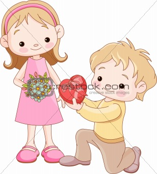 Boy giving hearts and flowers to a girl