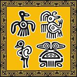 Set of ancient american indian patterns. Birds.