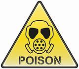 Poison gas mask vector triangle hazardous sign