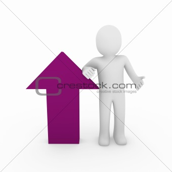 3d human arrow success pink purple  high business