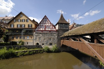 Old bridge of wood in Schwabisch Hall, Germany