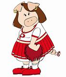 Cheerleader pig with red pleated skirt and pon-pon.