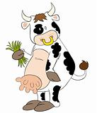 Funny dairy cow with spring grass.