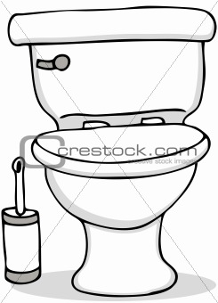 Toilet and Cleaning Brush