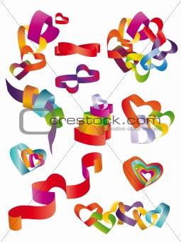 3D hearts set