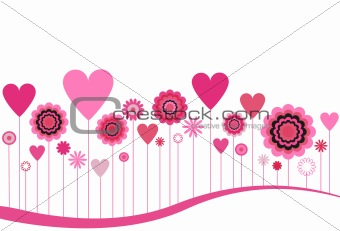 Blooming Flowers and Hearts in Pink