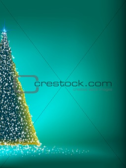 Abstract green christmas tree on green. EPS 8