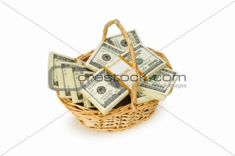 Basket full of dollars isolated on white
