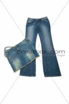 Pair of jeans isolated on the white background