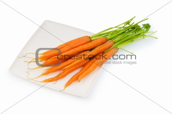 Fresh carrots isolated on the white