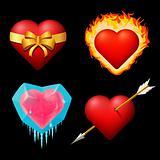Set volume, conceptual hearts.