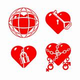 Set of the stylized closed hearts.