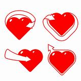 Set of stylized hearts with arrows.