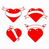 set of stylized hearts with ribbons