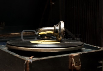 Old rarity gramophone with record