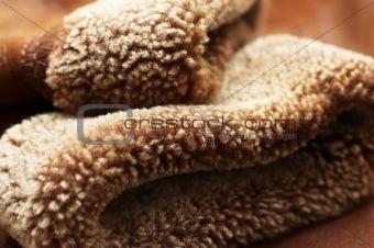 Sleeves of sheepskin coat