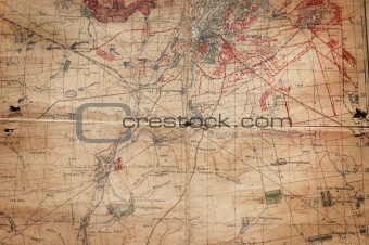 Old broken military map