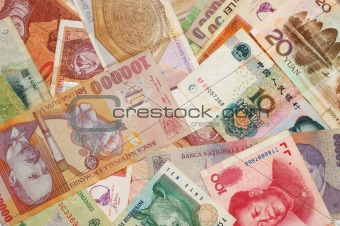 A collection of various currencies from different countries