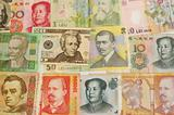 Man portraits on the foreign currencies