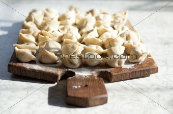 Uncooked meat dumplings