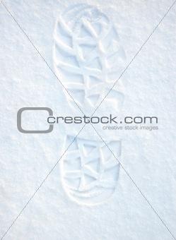 Footprint on clean snow