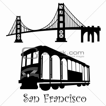 San Francisco Golden Gate Bridge and Cable Car Trolley