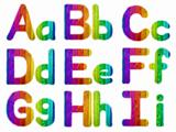 Letters A B C D E F G H I with a Wooden Rainbow Background