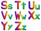Letters S T U V W X Y Z with a Wooden Rainbow Background