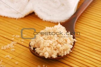 bath salt on a wooden spoon
