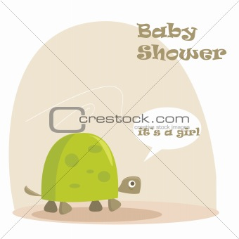 Baby girl arrival announcement with a turtle