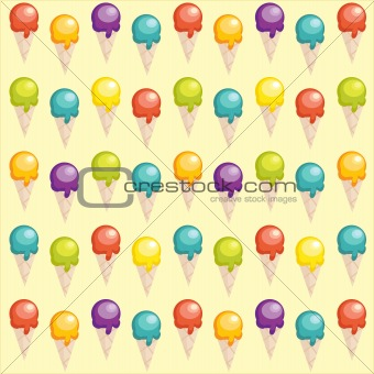 Background with cartoon ice cream cups