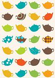 seamless pattern of tea pots
