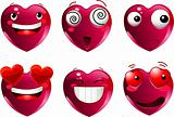 Set of heart shape emoticons