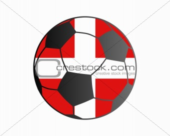 Flag of Denmark and soccer ball