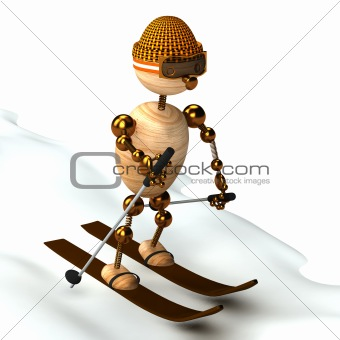 wood man skiing down a slope