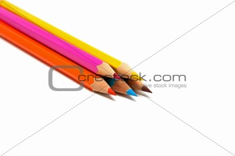 Five colored pencils