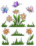 set of flower grass and butterfly