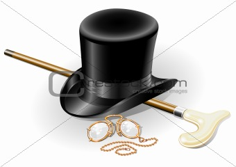 set of retro accessories with hat walkingstick and pince-nez poi