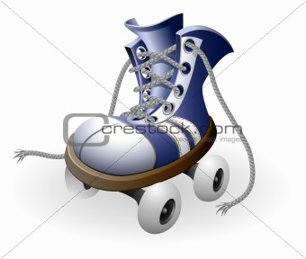 blue roller skates with untied lace