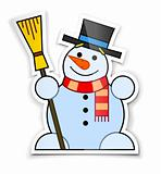 sticker of smiling snowman in top hat with broom