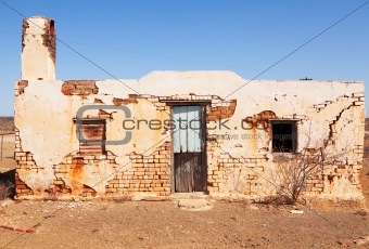 Old abandoned house in desert area