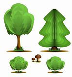 Tree, firtree, shrub, mushroom - set forest plants
