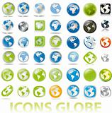 collection of earth globes a map icons