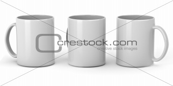 Three clean mugs