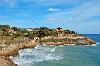 a view of a the coastline in Tarragona, Spain