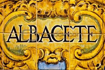 Albacete sign, Spain